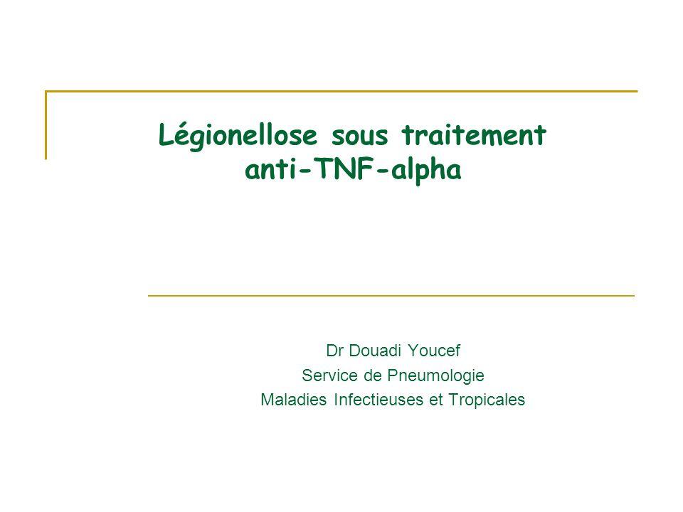 Légionellose sous traitement anti-TNF-alpha Dr Douadi Youcef Service de Pneumologie Maladies Infectieuses et Tropicales