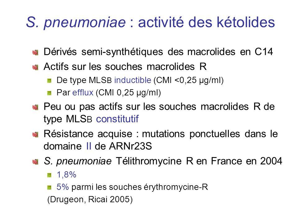 S. pneumoniae : activité des kétolides Dérivés semi-synthétiques des macrolides en C14 Actifs sur les souches macrolides R De type MLS B inductible (C