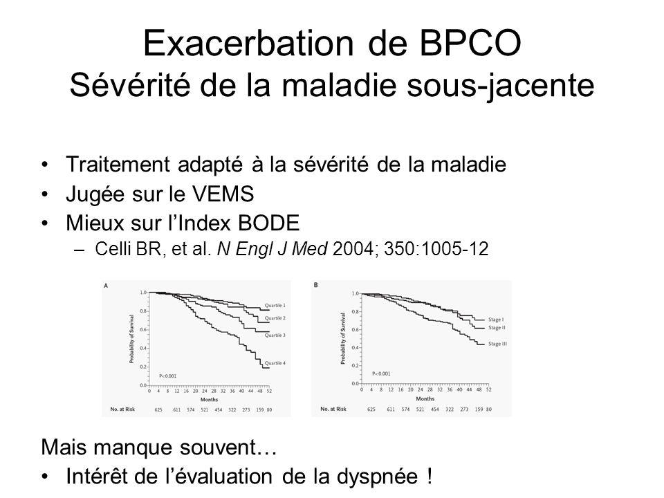 Exacerbation de BPCO Sévérité de la maladie sous-jacente Traitement adapté à la sévérité de la maladie Jugée sur le VEMS Mieux sur lIndex BODE –Celli
