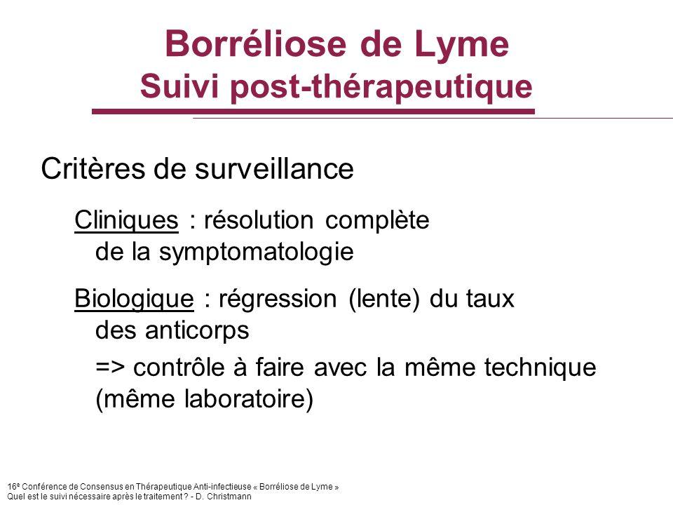 16 e Conférence de Consensus en Thérapeutique Anti-infectieuse « Borréliose de Lyme » Quel est le suivi nécessaire après le traitement ? - D. Christma