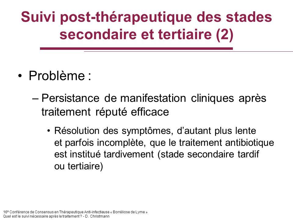 16 e Conférence de Consensus en Thérapeutique Anti-infectieuse « Borréliose de Lyme » Quel est le suivi nécessaire après le traitement .