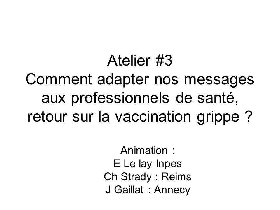 Atelier #3 Comment adapter nos messages aux professionnels de santé, retour sur la vaccination grippe ? Animation : E Le lay Inpes Ch Strady : Reims J