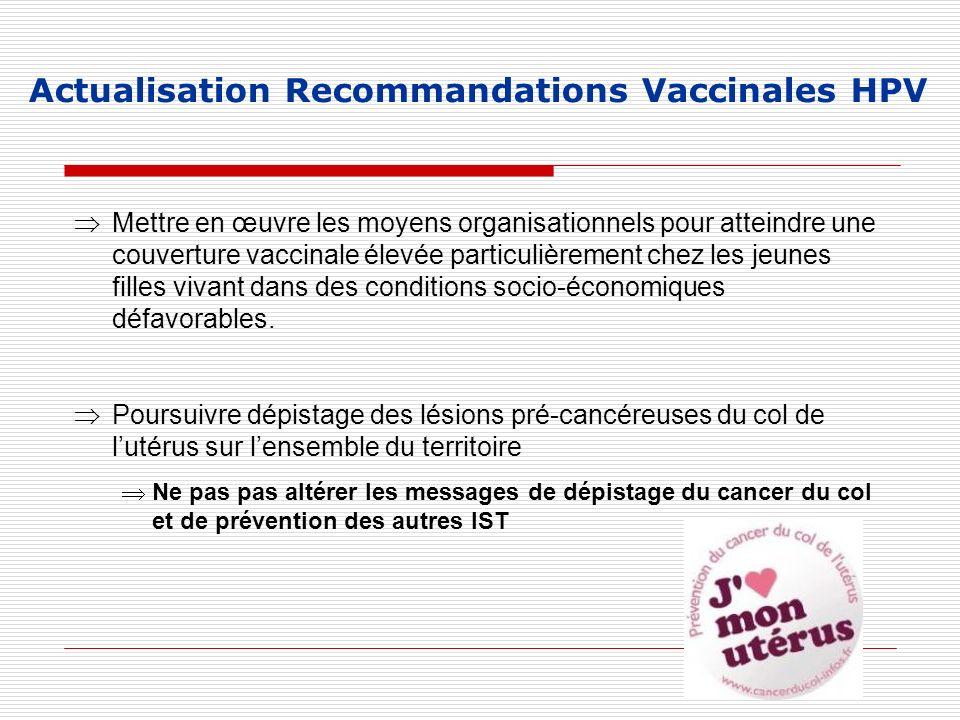 Actualisation Recommandations Vaccinales HPV Mettre en œuvre les moyens organisationnels pour atteindre une couverture vaccinale élevée particulièreme