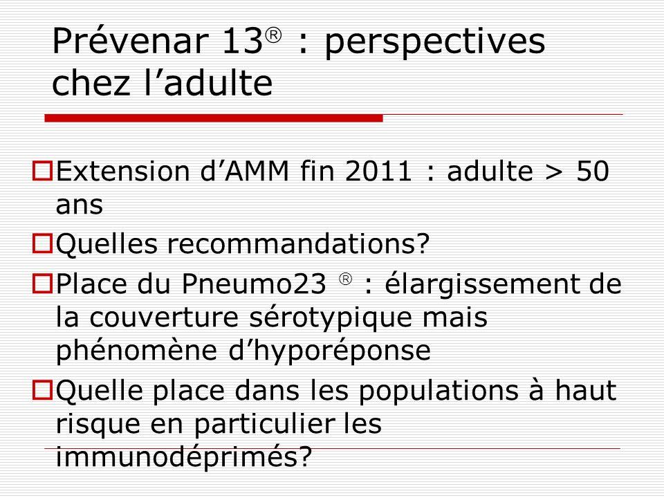 Prévenar 13 : perspectives chez ladulte Extension dAMM fin 2011 : adulte > 50 ans Quelles recommandations? Place du Pneumo23 : élargissement de la cou
