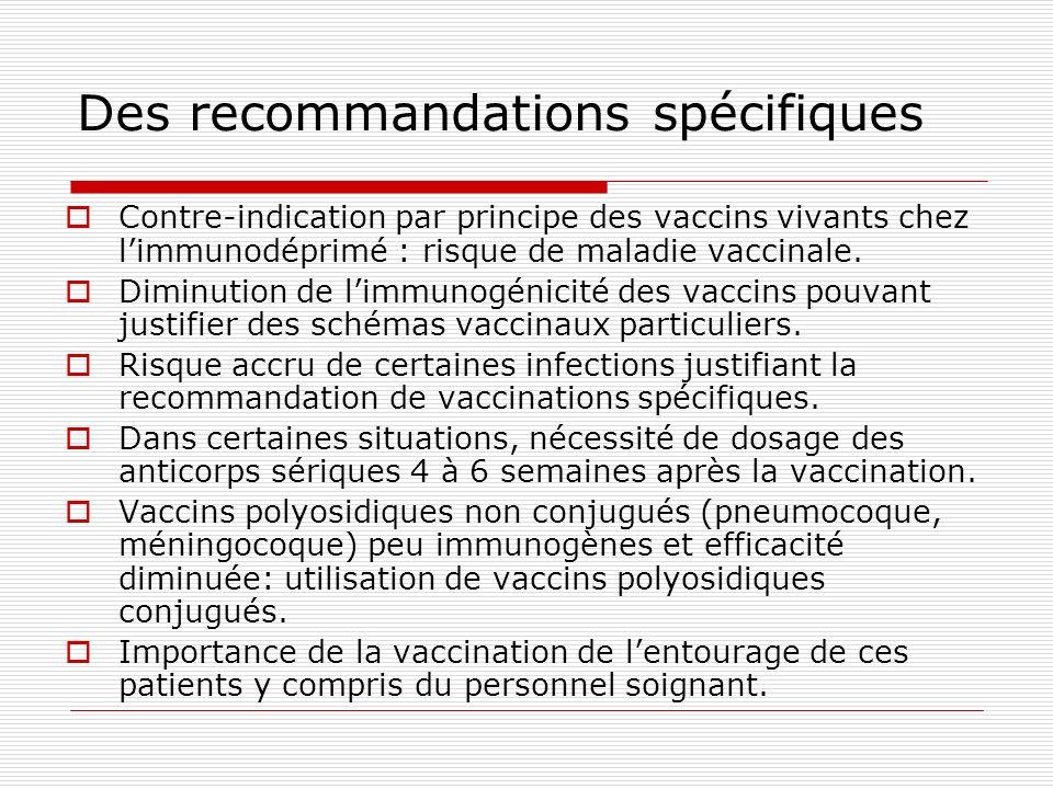 Des recommandations spécifiques Contre-indication par principe des vaccins vivants chez limmunodéprimé : risque de maladie vaccinale. Diminution de li