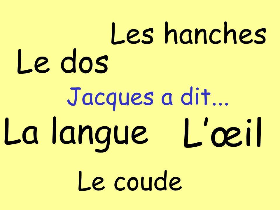 Le coude Lœil La langue Les hanches Le dos Jacques a dit...