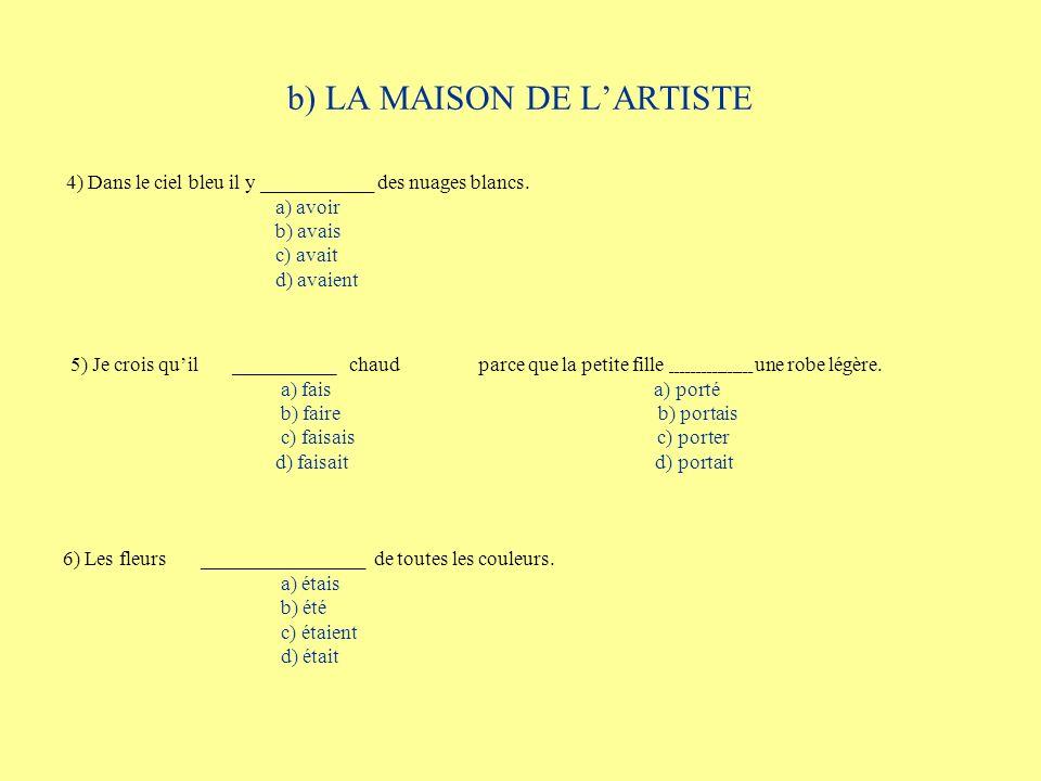 b) LA MAISON DE LARTISTE 4) Dans le ciel bleu il y ___________ des nuages blancs. a) avoir b) avais c) avait d) avaient 5) Je crois quil __________ ch