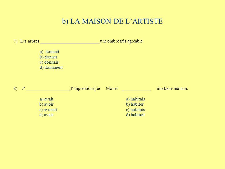 b) LA MAISON DE LARTISTE 7) Les arbres ___________________________ une ombre très agréable. a) donnait b) donner c) donnais d) donnaient 8)J _________