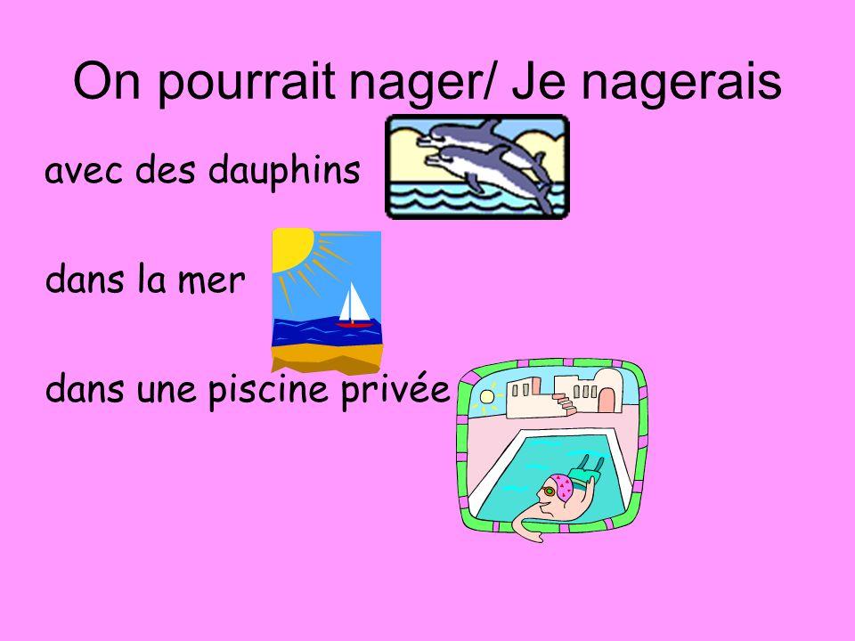 On pourrait nager/ Je nagerais avec des dauphins dans la mer dans une piscine privée