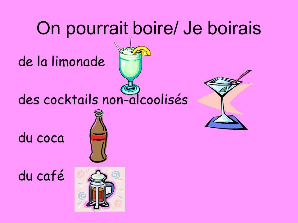 On pourrait boire/ Je boirais de la limonade des cocktails non-alcoolisés du coca du café