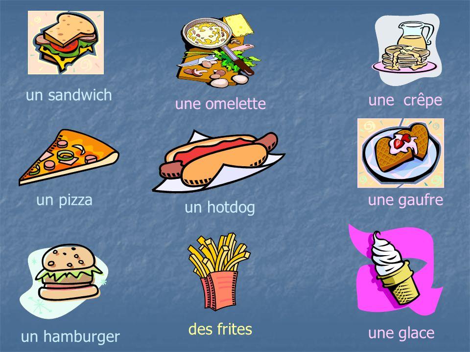Les Snacks 1. un sandwich au… pouletpâtésaucissefromagejambon 2. un hot dog 3. un hamburger 4. une pizza 5. des frites 6. un Croque-Monsieur 7. une om