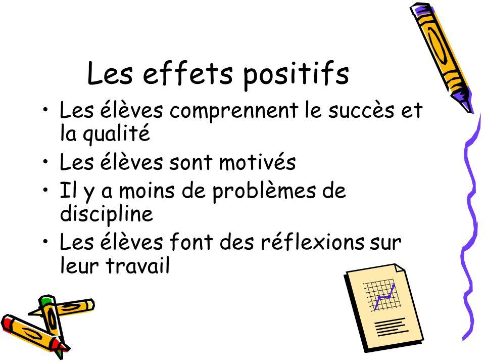 Les effets positifs Les élèves comprennent le succès et la qualité Les élèves sont motivés Il y a moins de problèmes de discipline Les élèves font des réflexions sur leur travail