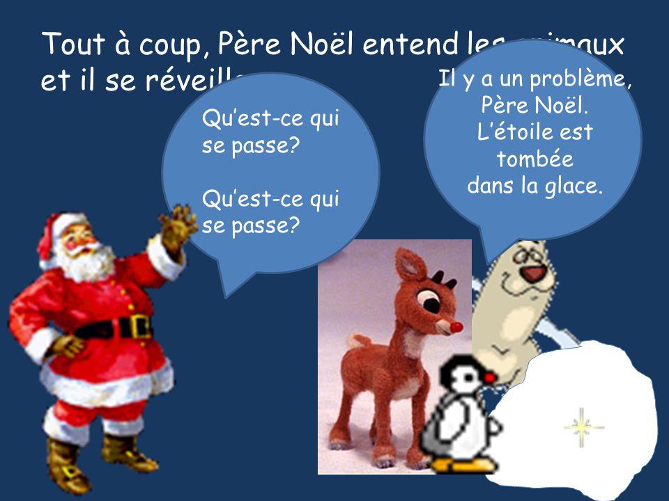 Tout à coup, Père Noël entend les animaux et il se réveille. Quest-ce qui se passe? Quest-ce qui se passe? Il y a un problème, Père Noël. Létoile est