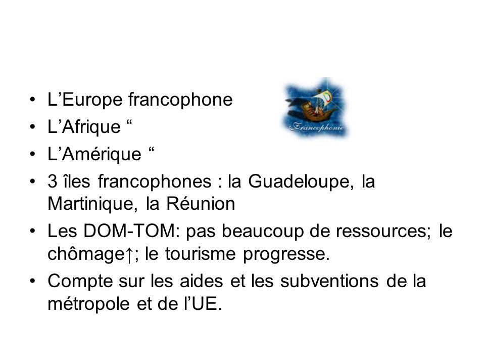 LEurope francophone LAfrique LAmérique 3 îles francophones : la Guadeloupe, la Martinique, la Réunion Les DOM-TOM: pas beaucoup de ressources; le chôm