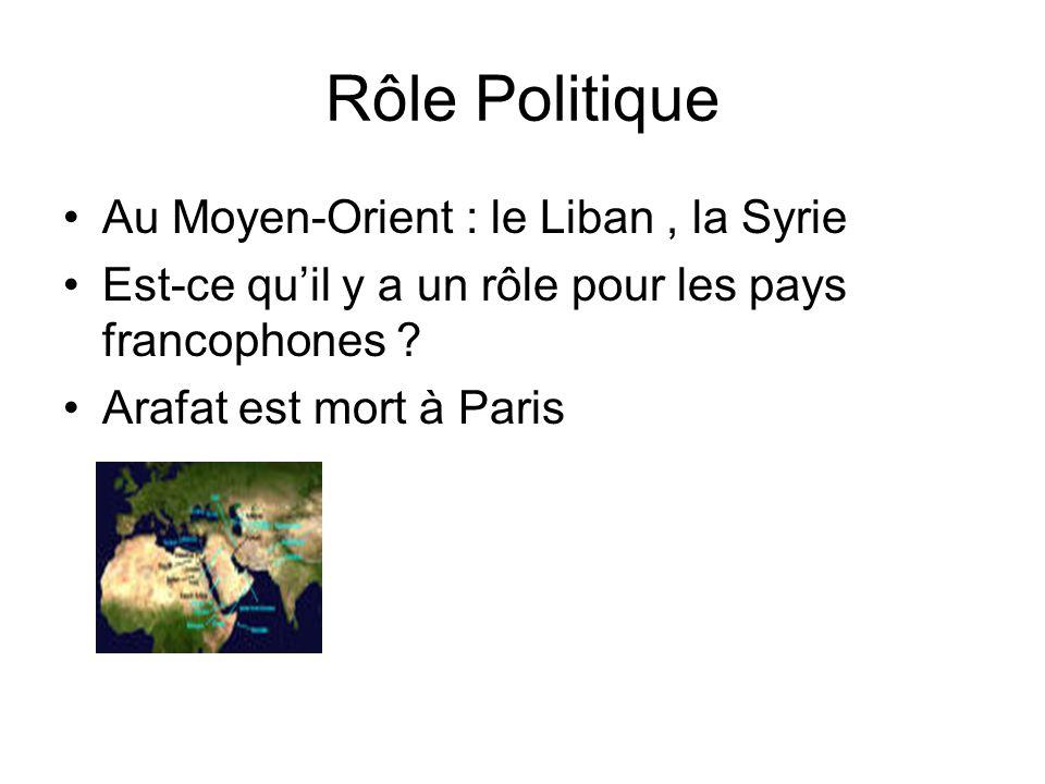 Rôle Politique Au Moyen-Orient : le Liban, la Syrie Est-ce quil y a un rôle pour les pays francophones ? Arafat est mort à Paris