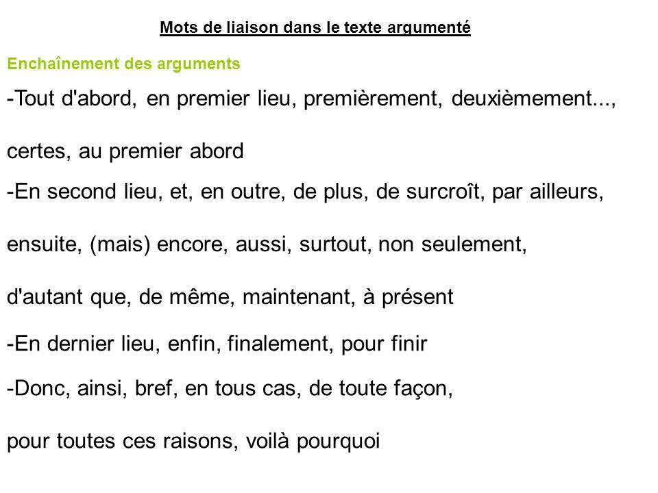 Mots de liaison dans le texte argumenté Enchaînement des arguments -Tout d'abord, en premier lieu, premièrement, deuxièmement..., certes, au premier a