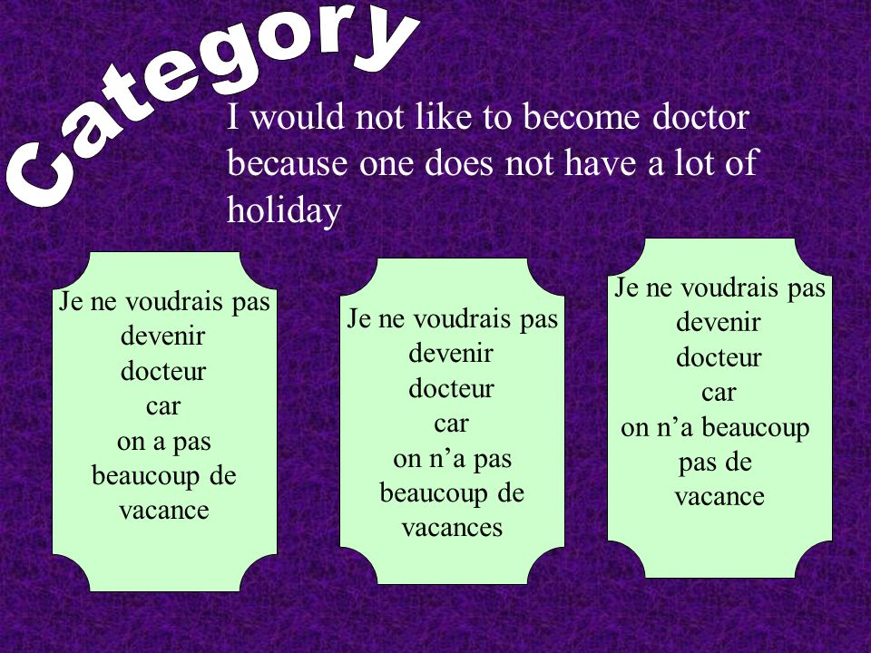 I would not like to become doctor because one does not have a lot of holiday Je ne voudrais pas devenir docteur car on a pas beaucoup de vacance Je ne voudrais pas devenir docteur car on na pas beaucoup de vacances Je ne voudrais pas devenir docteur car on na beaucoup pas de vacance
