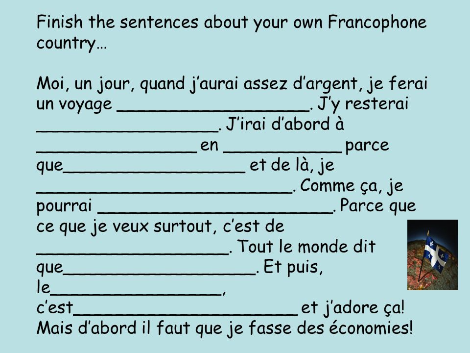 Finish the sentences about your own Francophone country… Vacances de rêve !!.