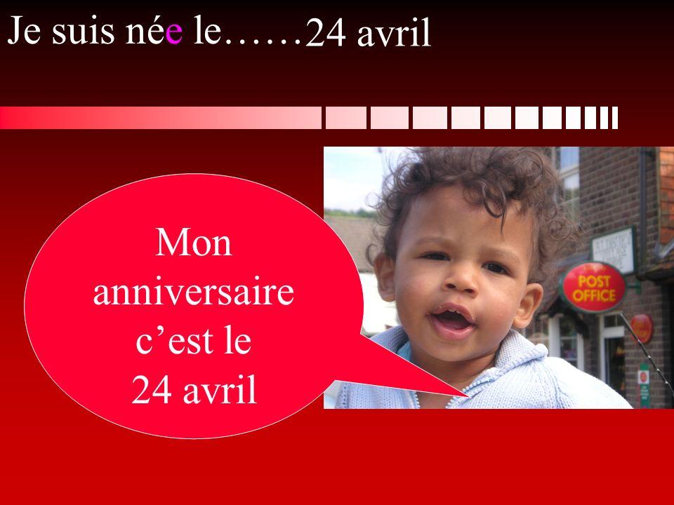 Je suis née le…… Mon anniversaire cest le 24 avril