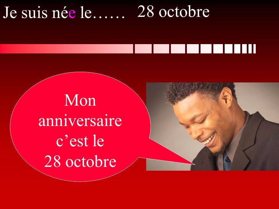 Je suis née le…… Mon anniversaire cest le 28 octobre 28 octobre