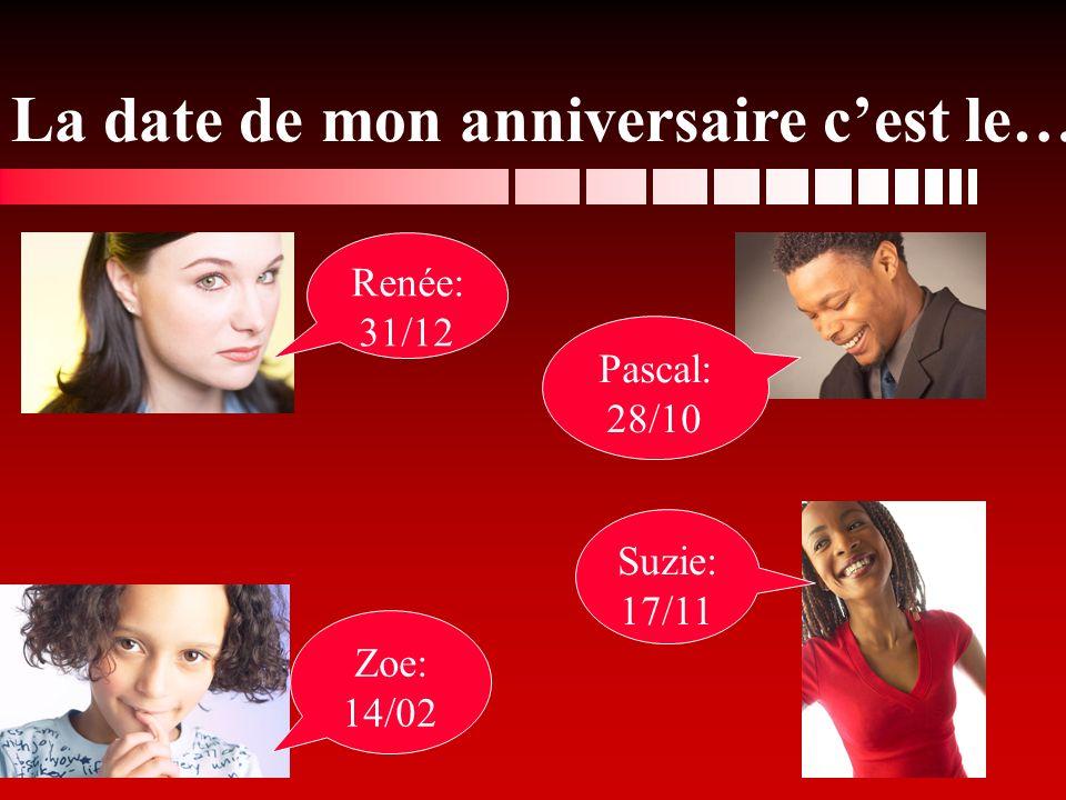 Renée: 31/12 Zoe: 14/02 Suzie: 17/11 Pascal: 28/10 La date de mon anniversaire cest le…