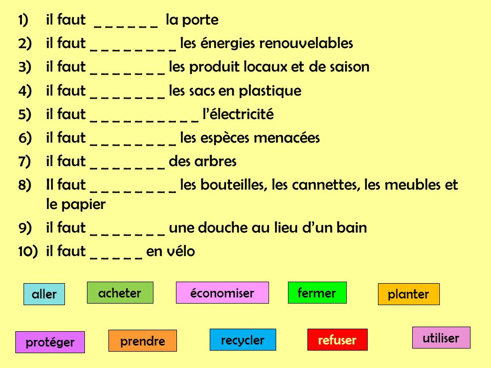 1)il faut _ _ _ _ _ _ la porte 2)il faut _ _ _ _ _ _ _ _ les énergies renouvelables 3)il faut _ _ _ _ _ _ _ les produit locaux et de saison 4)il faut