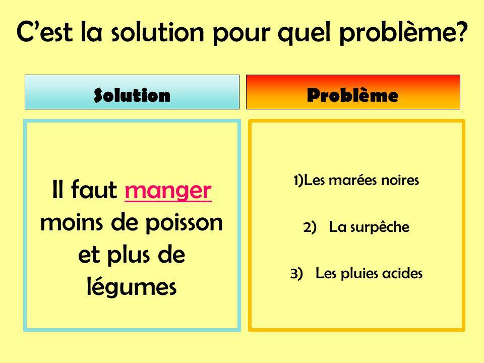 Cest la solution pour quel problème? 1)Les marées noires 2) La surpêche 3) Les pluies acides Il faut manger moins de poisson et plus de légumes Soluti