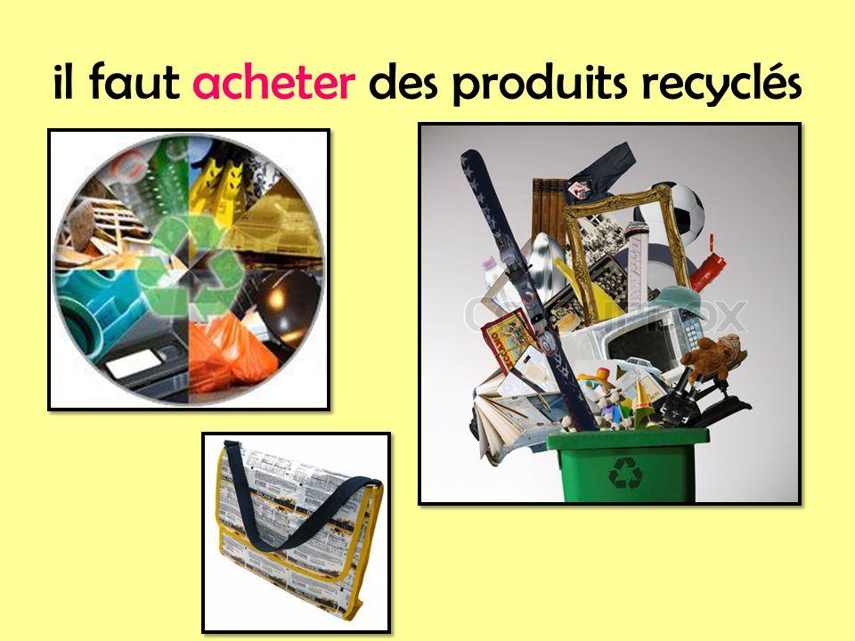 il faut acheter des produits recyclés