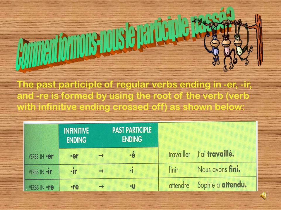 The past participle of regular verbs ending in -er, -ir, and -re is formed by using the root of the verb (verb with infinitive ending crossed off) as shown below: