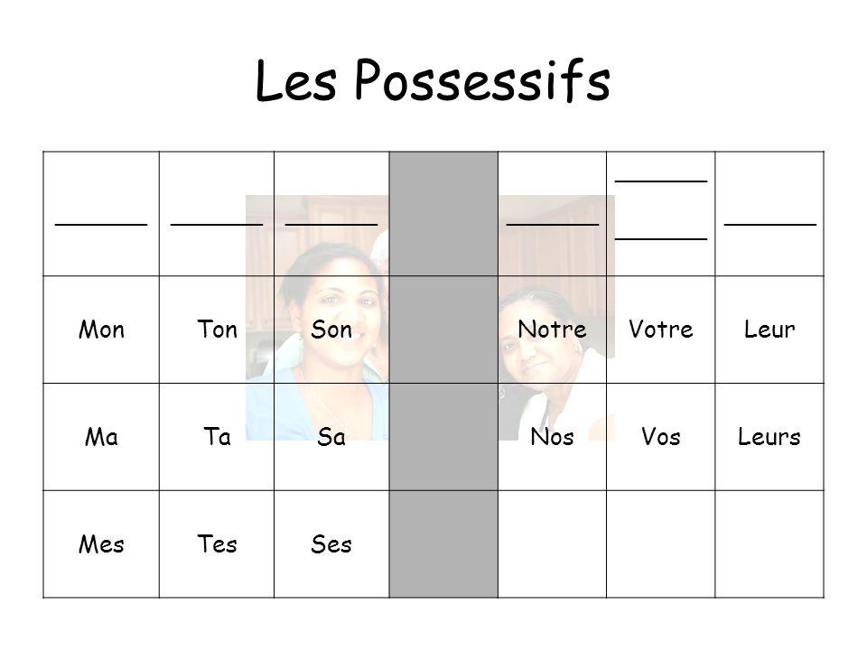 Les Possessifs ______ MonTonSonNotreVotreLeur MaTaSaNosVosLeurs MesTesSes