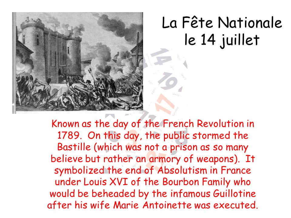 Known as the day of the French Revolution in 1789.