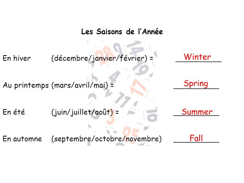 Les Saisons de lAnnée En hiver (décembre/janvier/février) = __________ Au printemps(mars/avril/mai) = __________ En été (juin/juillet/août) =_________