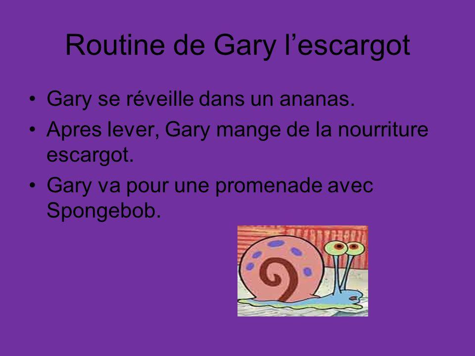 Routine de Gary lescargot Gary se réveille dans un ananas. Apres lever, Gary mange de la nourriture escargot. Gary va pour une promenade avec Spongebo