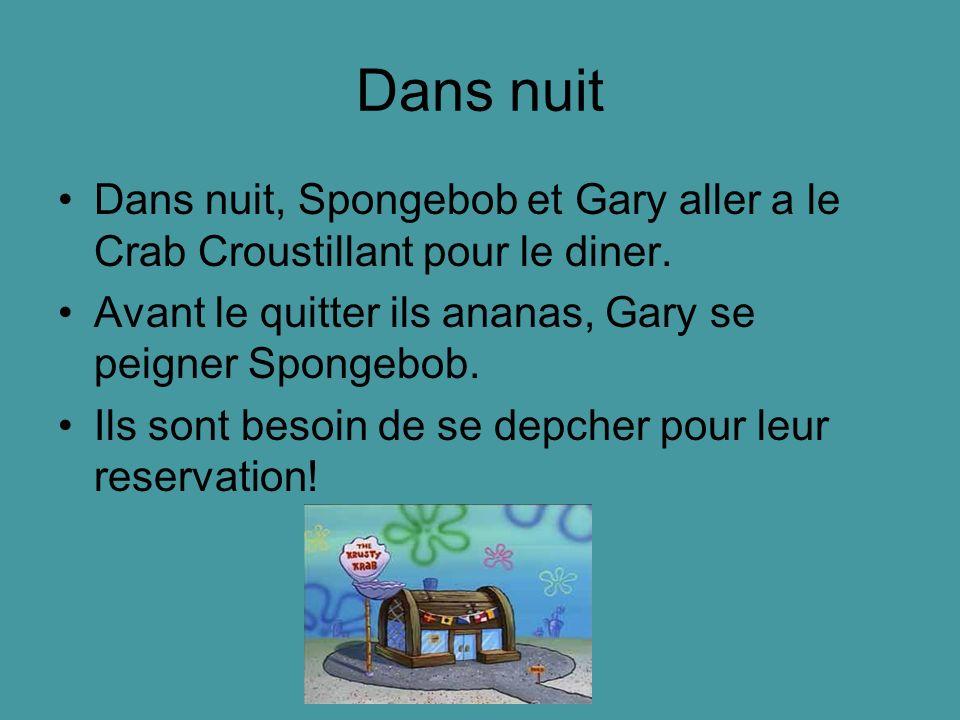 Dans nuit Dans nuit, Spongebob et Gary aller a le Crab Croustillant pour le diner. Avant le quitter ils ananas, Gary se peigner Spongebob. Ils sont be