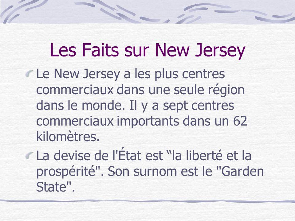 Les Faits sur New Jersey Le New Jersey a les plus centres commerciaux dans une seule région dans le monde. Il y a sept centres commerciaux importants