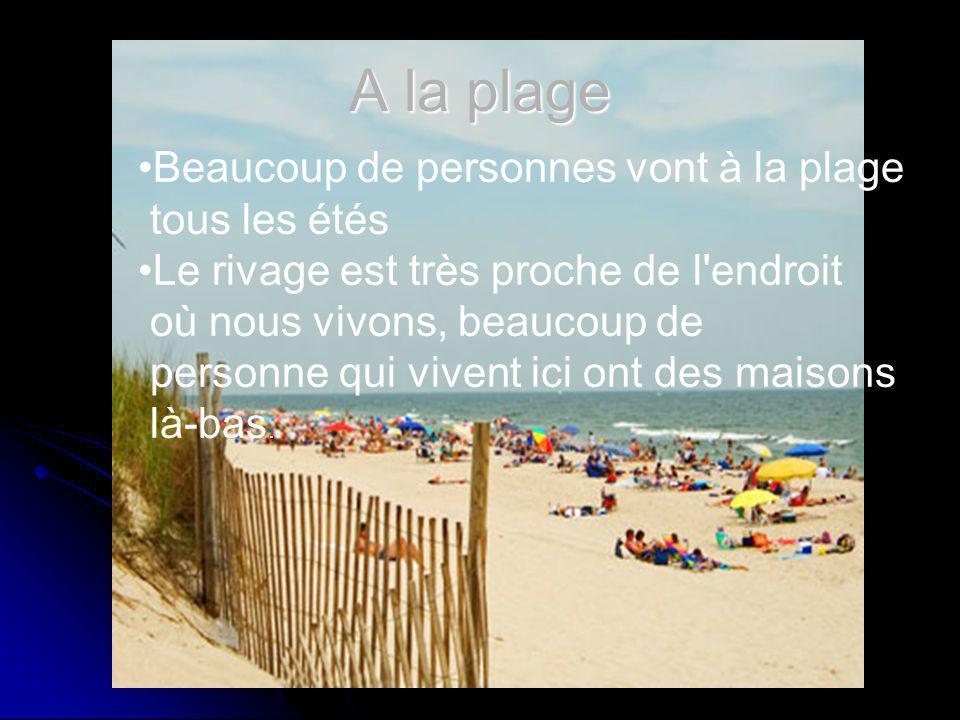 A la plage Beaucoup de personnes vont à la plage tous les étés Le rivage est très proche de l endroit où nous vivons, beaucoup de personne qui vivent ici ont des maisons là-bas.