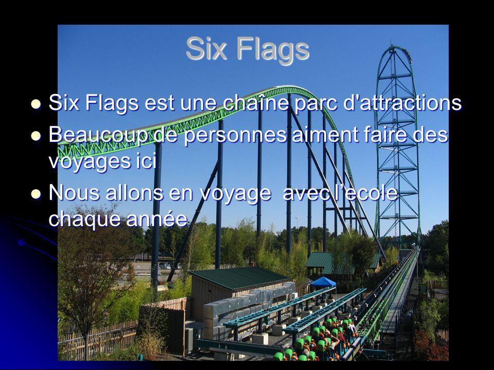 Six Flags Six Flags est une chaîne parc d attractions Six Flags est une chaîne parc d attractions Beaucoup de personnes aiment faire des voyages ici Beaucoup de personnes aiment faire des voyages ici Nous allons en voyage avec lecole chaque année Nous allons en voyage avec lecole chaque année