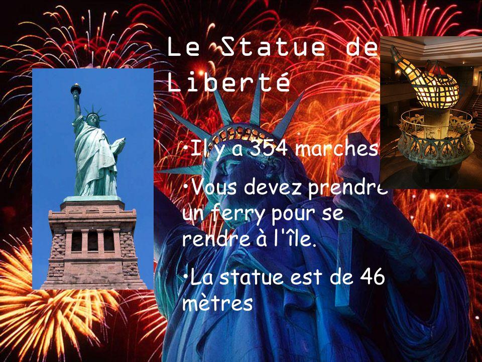 Le Statue de La Liberté Il y a 354 marches Vous devez prendre un ferry pour se rendre à l'île. La statue est de 46 mètres