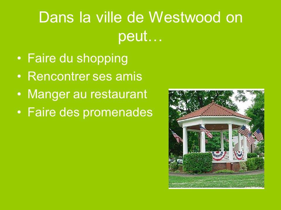 Dans la ville de Westwood on peut… Faire du shopping Rencontrer ses amis Manger au restaurant Faire des promenades