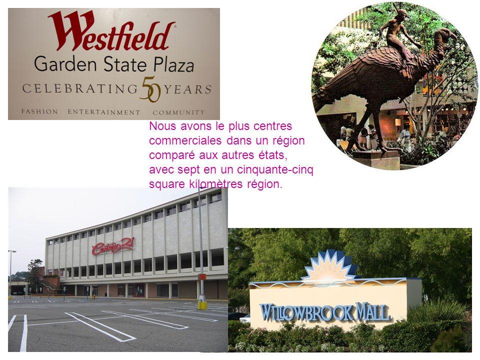 Nous avons le plus centres commerciales dans un région comparé aux autres états, avec sept en un cinquante-cinq square kilomètres région.