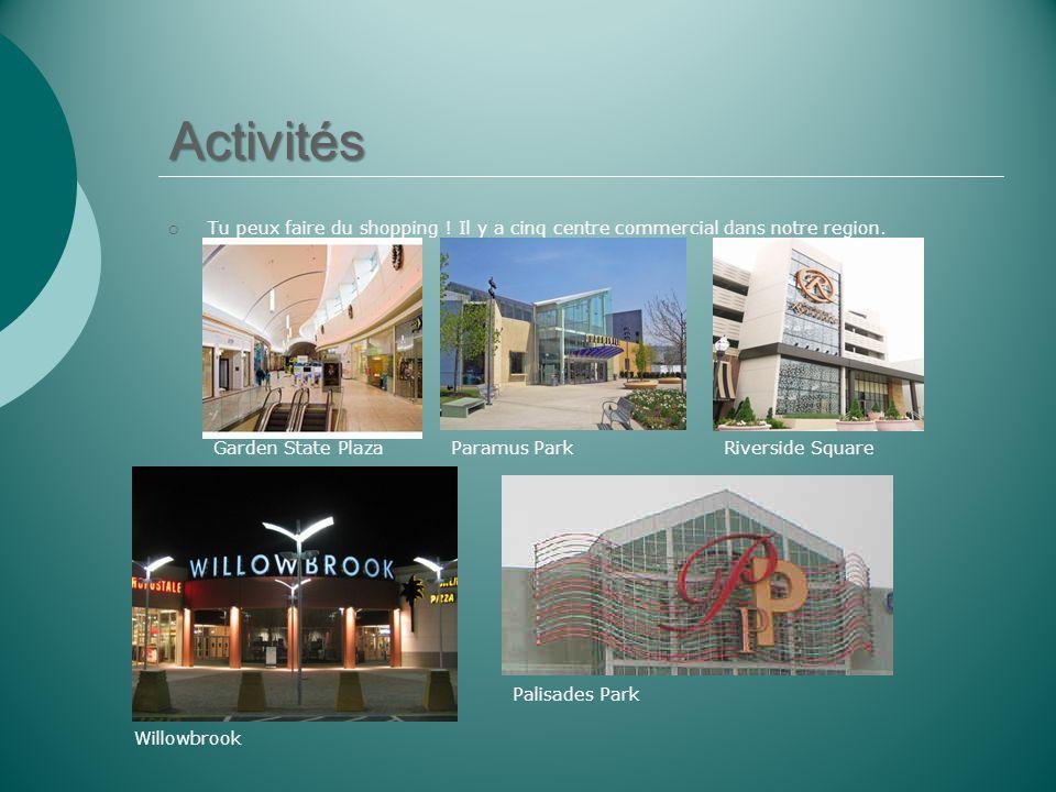 Activités Tu peux faire du shopping ! Il y a cinq centre commercial dans notre region. Garden State PlazaParamus ParkRiverside Square Willowbrook Pali