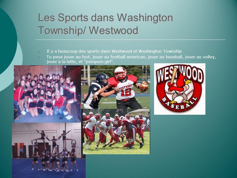 Les Sports dans Washington Township/ Westwood Il y a beaucoup des sports dans Westwood et Washington Township Tu peux jouer au foot, jouer au football american, jouer au baseball, jouer au volley, jouer a la lutte, et pompom girl.
