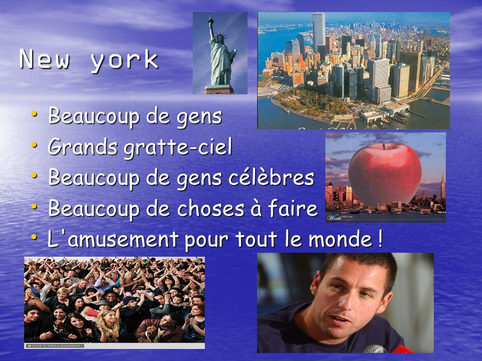 New york Beaucoup de gens Beaucoup de gens Grands gratte-ciel Grands gratte-ciel Beaucoup de gens célèbres Beaucoup de gens célèbres Beaucoup de choses à faire Beaucoup de choses à faire L amusement pour tout le monde .