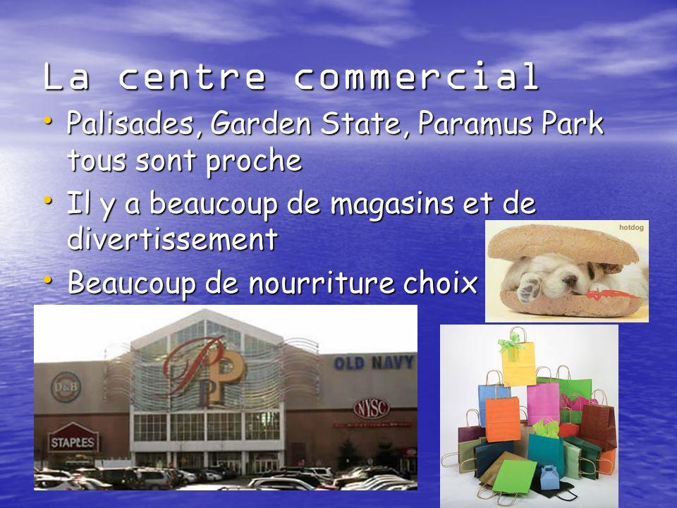 La centre commercial Palisades, Garden State, Paramus Park tous sont proche Palisades, Garden State, Paramus Park tous sont proche Il y a beaucoup de magasins et de divertissement Il y a beaucoup de magasins et de divertissement Beaucoup de nourriture choix Beaucoup de nourriture choix
