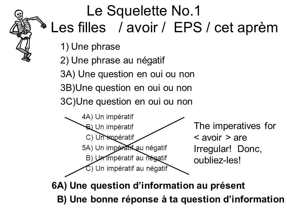 Le Squelette No.1 Les filles / avoir / EPS / cet aprèm 1)Une phrase 2)Une phrase au négatif 3A) Une question en oui ou non 3B)Une question en oui ou non 3C)Une question en oui ou non 4A) Un impératif B) Un impératif C) Un impératif 5A) Un impératif au négatif B) Un impératif au négatif C) Un impératif au négatif 6A) Une question dinformation au présent B) Une bonne réponse à ta question dinformation The imperatives for are Irregular.