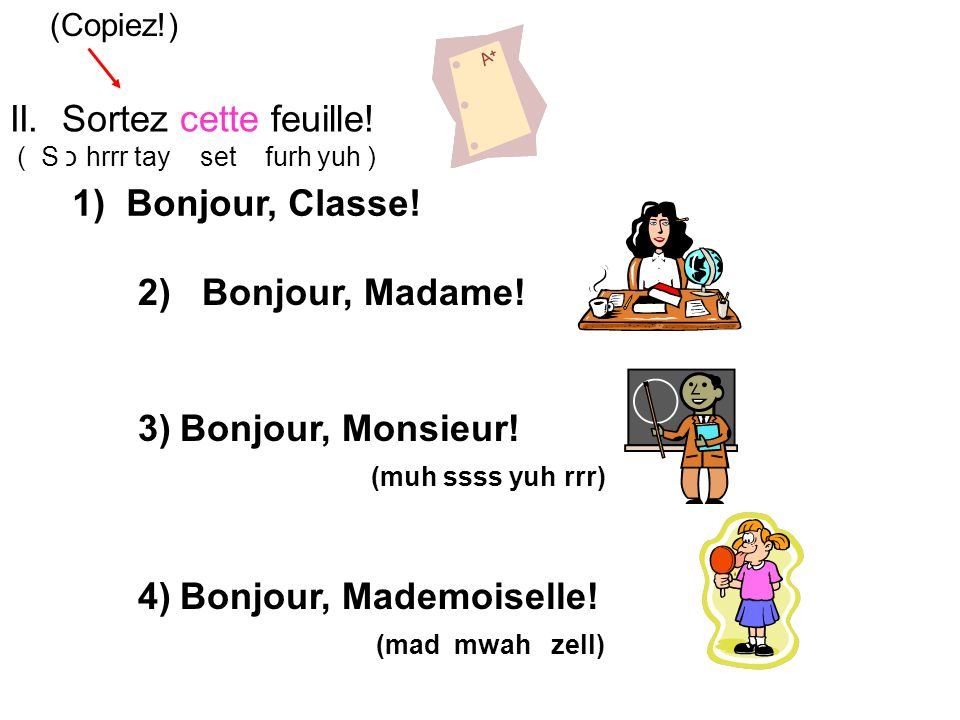 1) Bonjour, Classe. Bonjour, Madame. Bonjour, Monsieur.