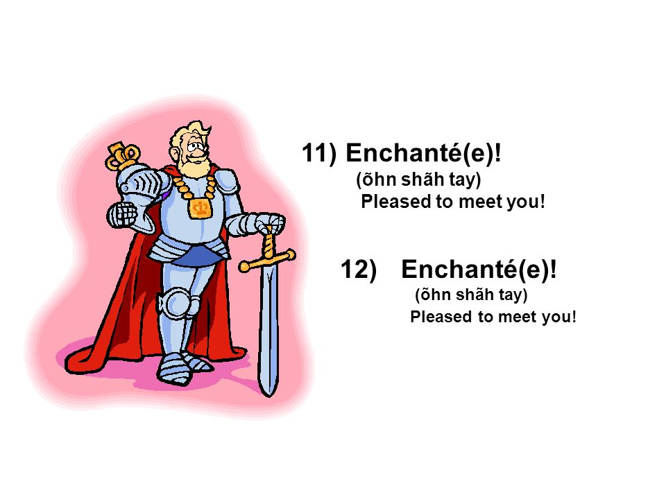 Enchanté(e). (õhn shãh tay) Pleased to meet you. Enchanté(e).