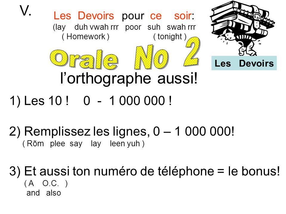 Les Devoirs pour ce soir: (lay duh vwah rrr poor suh swah rrr ( Homework ) ( tonight ) V. 1) Les 10 ! 0 - 1 000 000 ! 2) Remplissez les lignes, 0 – 1