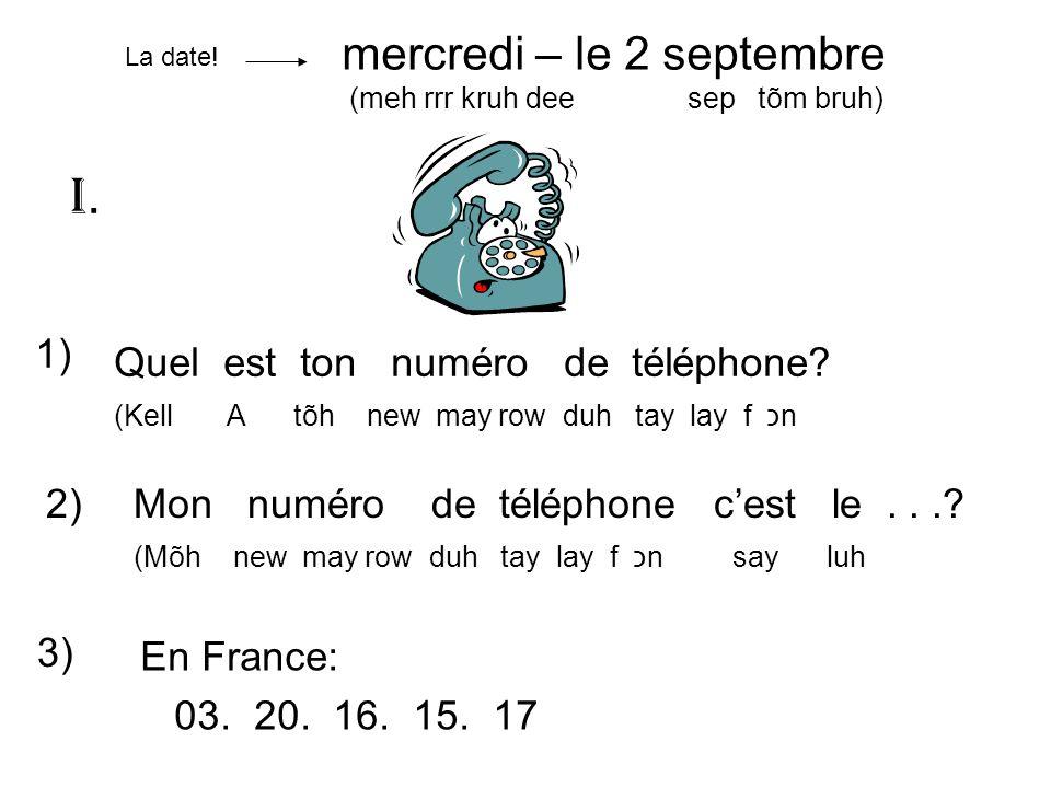 1) Quel est ton numéro de téléphone? (Kell A tõh new may row duh tay lay f כn 2)Mon numéro de téléphone cest le...? (Mõh new may row duh tay lay f כn