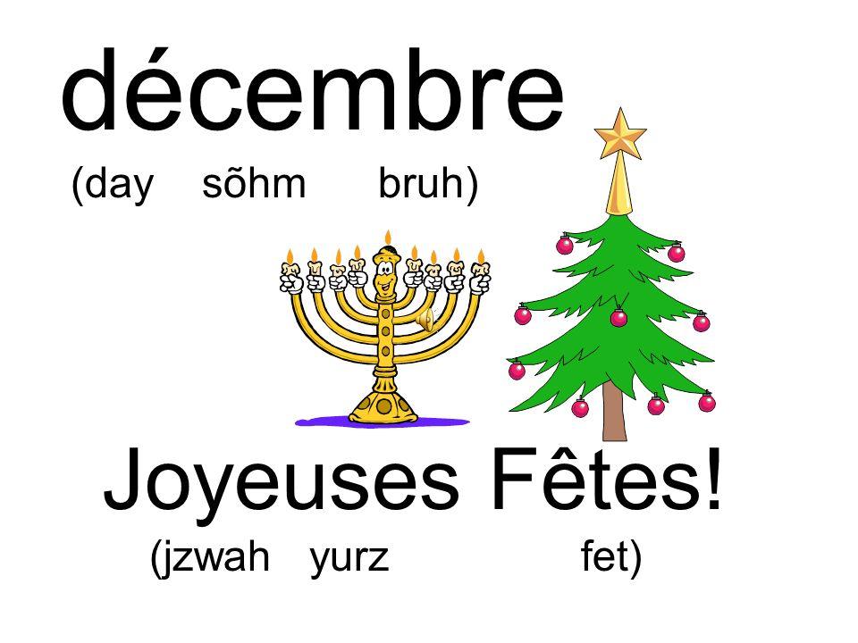 Joyeuses Fêtes! (jzwah yurz fet) décembre (day sõhm bruh)